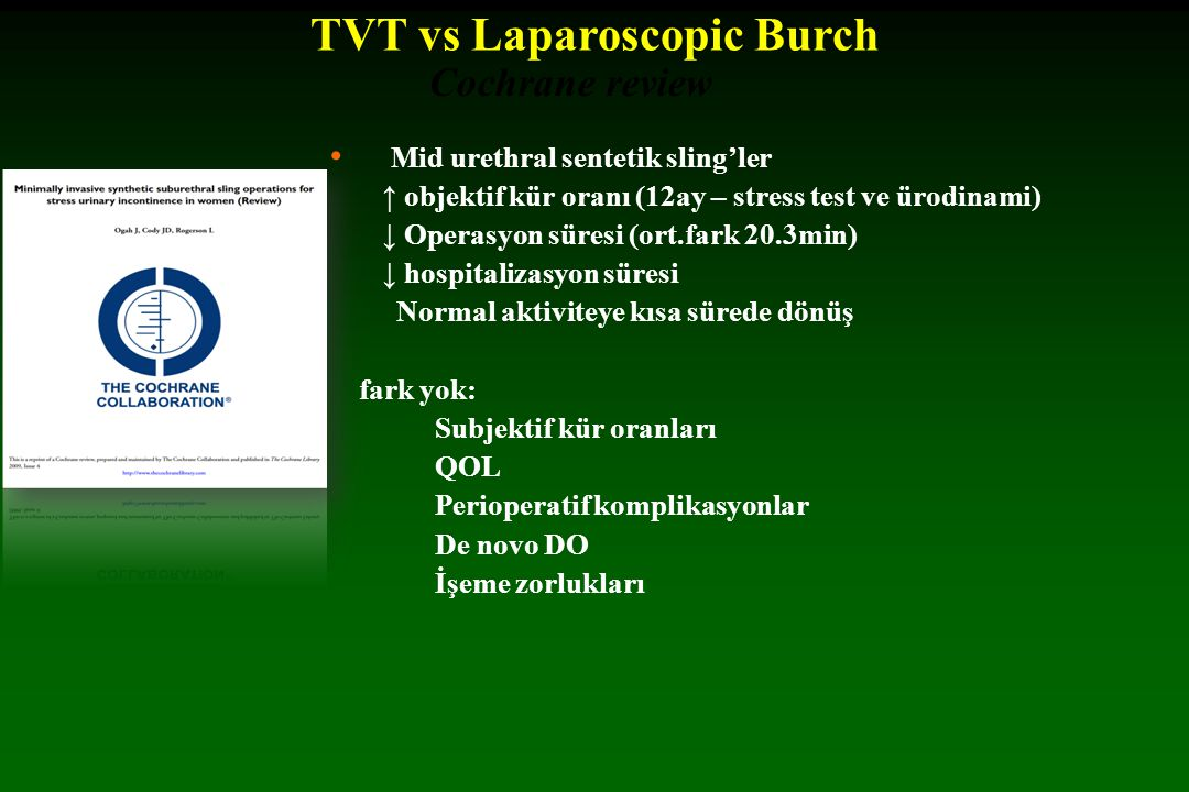 TVT vs Laparoscopic Burch