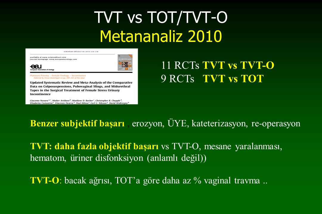 TVT vs TOT/TVT-O Metananaliz 2010
