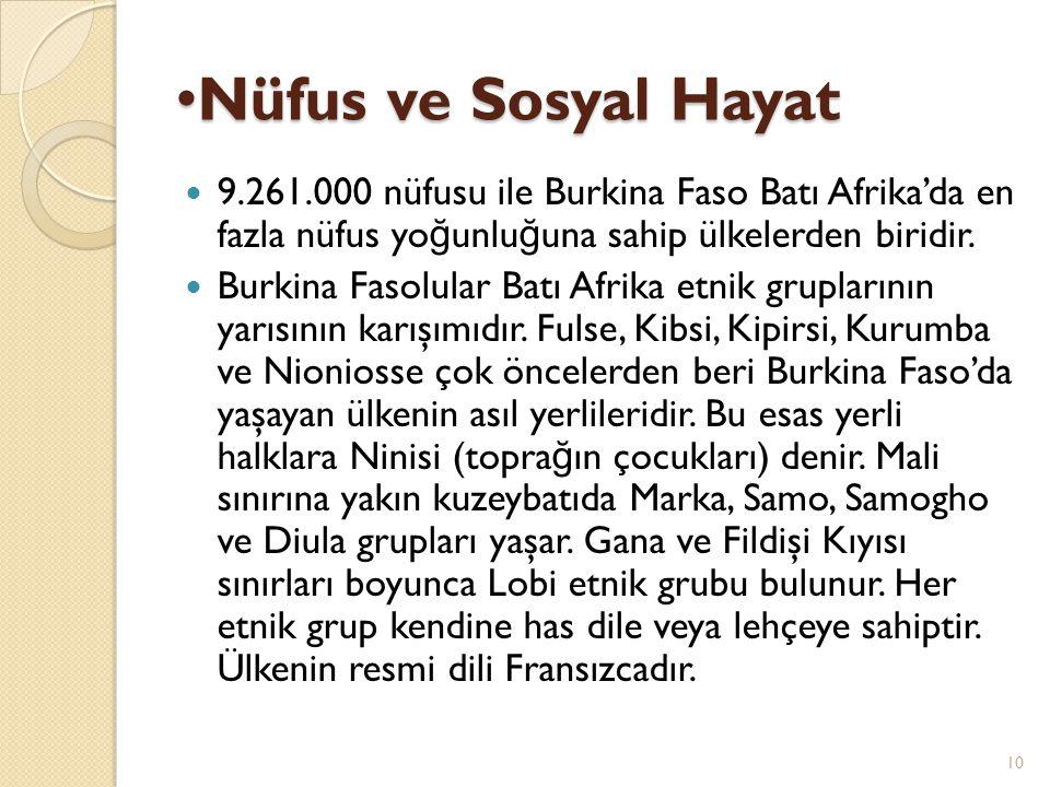 Nüfus ve Sosyal Hayat 9.261.000 nüfusu ile Burkina Faso Batı Afrika'da en fazla nüfus yoğunluğuna sahip ülkelerden biridir.
