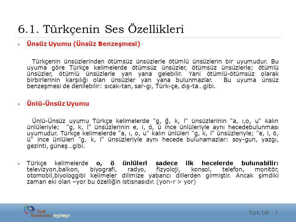 6.1. Türkçenin Ses Özellikleri