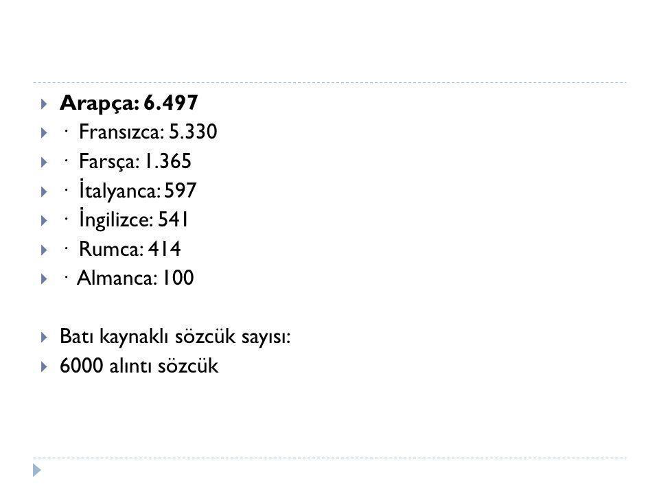 Arapça: 6.497 · Fransızca: 5.330. · Farsça: 1.365. · İtalyanca: 597. · İngilizce: 541. · Rumca: 414.