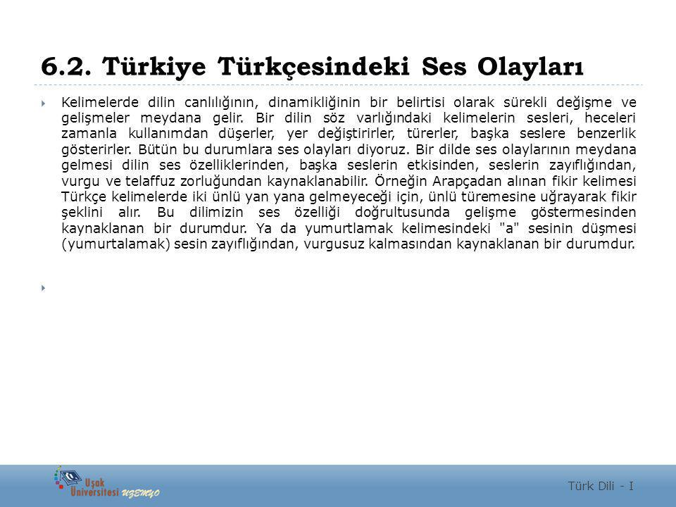 6.2. Türkiye Türkçesindeki Ses Olayları