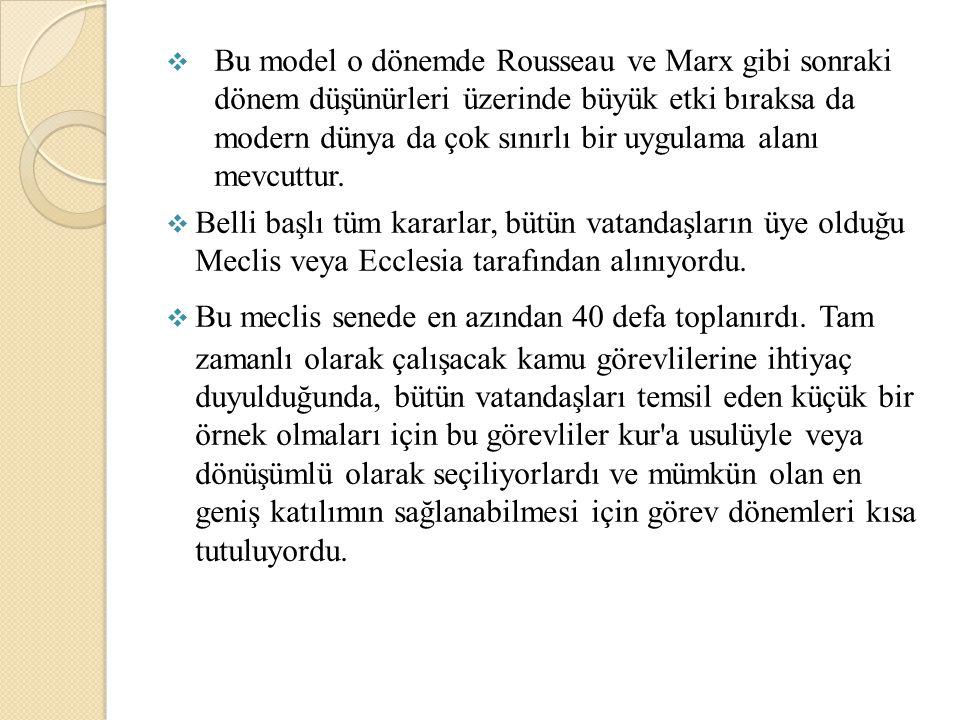 Bu model o dönemde Rousseau ve Marx gibi sonraki dönem düşünürleri üzerinde büyük etki bıraksa da modern dünya da çok sınırlı bir uygulama alanı mevcuttur.