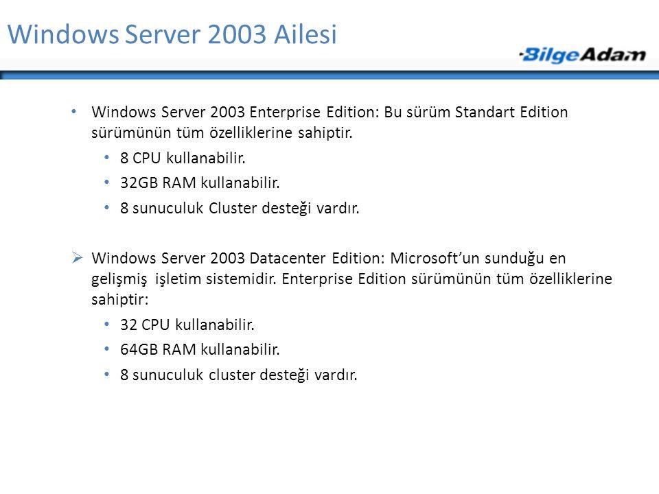 Windows Server 2003 Ailesi Windows Server 2003 Enterprise Edition: Bu sürüm Standart Edition sürümünün tüm özelliklerine sahiptir.