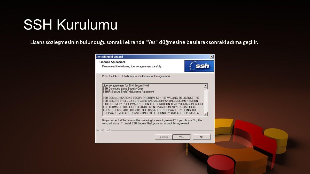 SSH Kurulumu Lisans sözleşmesinin bulunduğu sonraki ekranda Yes düğmesine basılarak sonraki adıma geçilir.