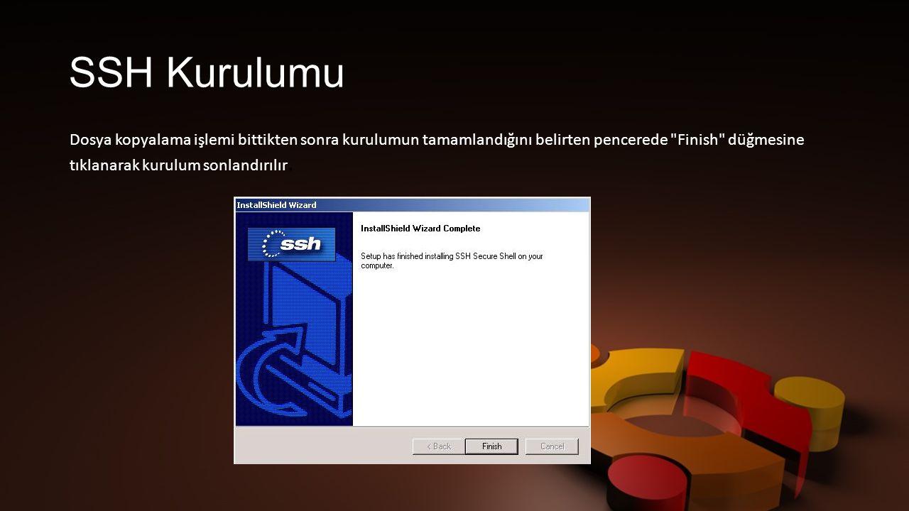 SSH Kurulumu Dosya kopyalama işlemi bittikten sonra kurulumun tamamlandığını belirten pencerede Finish düğmesine tıklanarak kurulum sonlandırılır.