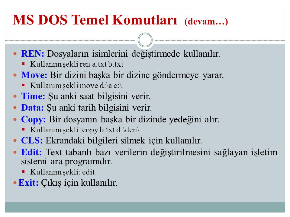 MS DOS Temel Komutları (devam…)