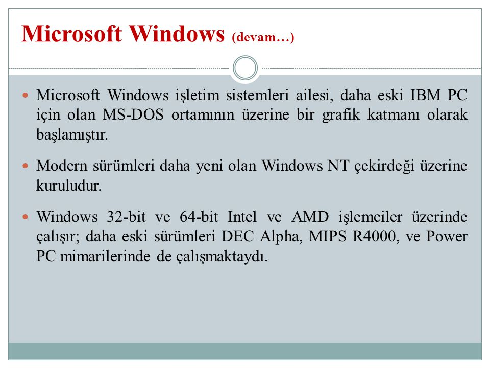 Microsoft Windows (devam…)
