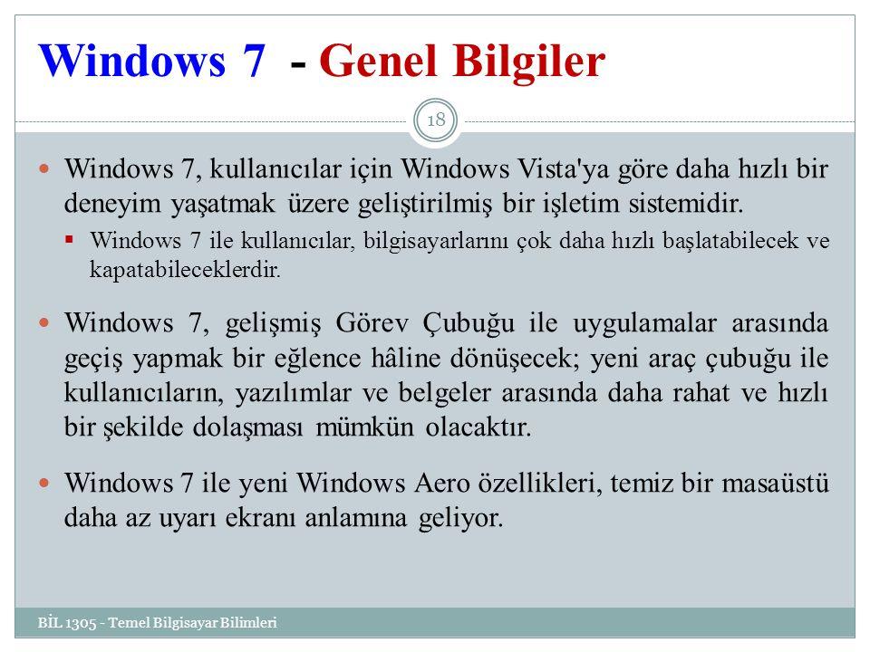 Windows 7 - Genel Bilgiler
