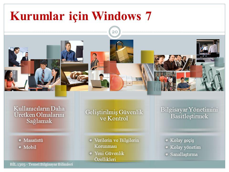 Kurumlar için Windows 7 Kullanıcıların Daha Üretken Olmalarını Sağlamak. Bilgisayar Yönetimini Basitleştirmek.