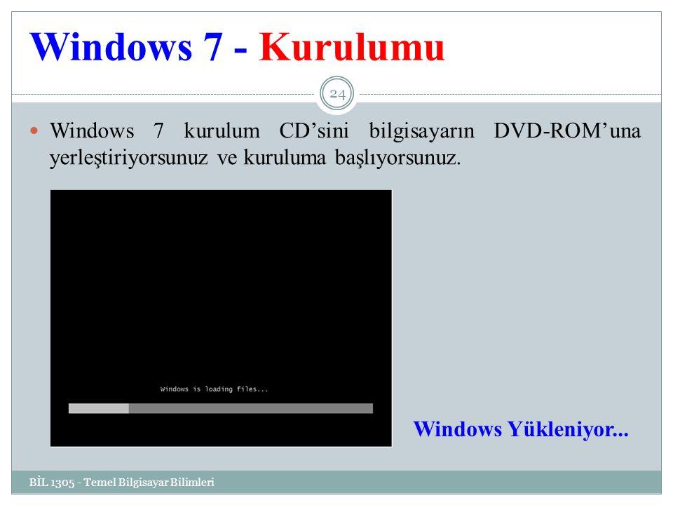 Windows 7 - Kurulumu Windows 7 kurulum CD'sini bilgisayarın DVD-ROM'una yerleştiriyorsunuz ve kuruluma başlıyorsunuz.