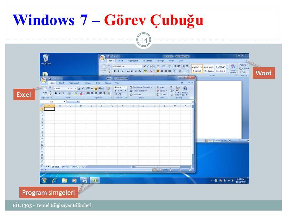 Windows 7 – Görev Çubuğu Word Excel Program simgeleri