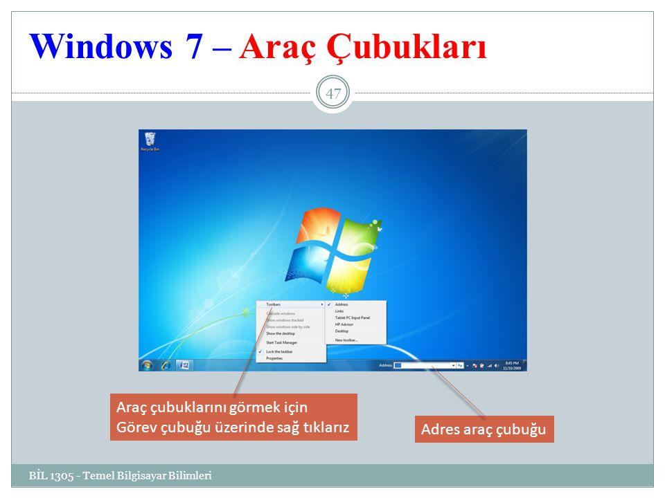 Windows 7 – Araç Çubukları