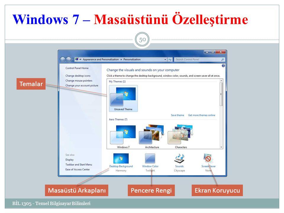 Windows 7 – Masaüstünü Özelleştirme