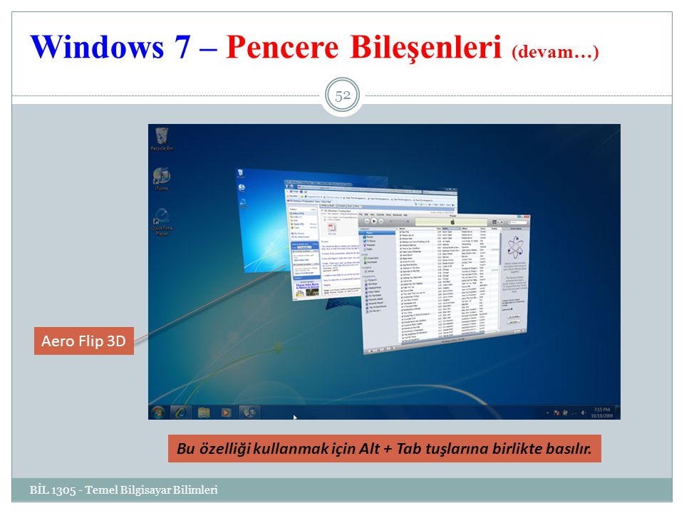 Windows 7 – Pencere Bileşenleri (devam…)