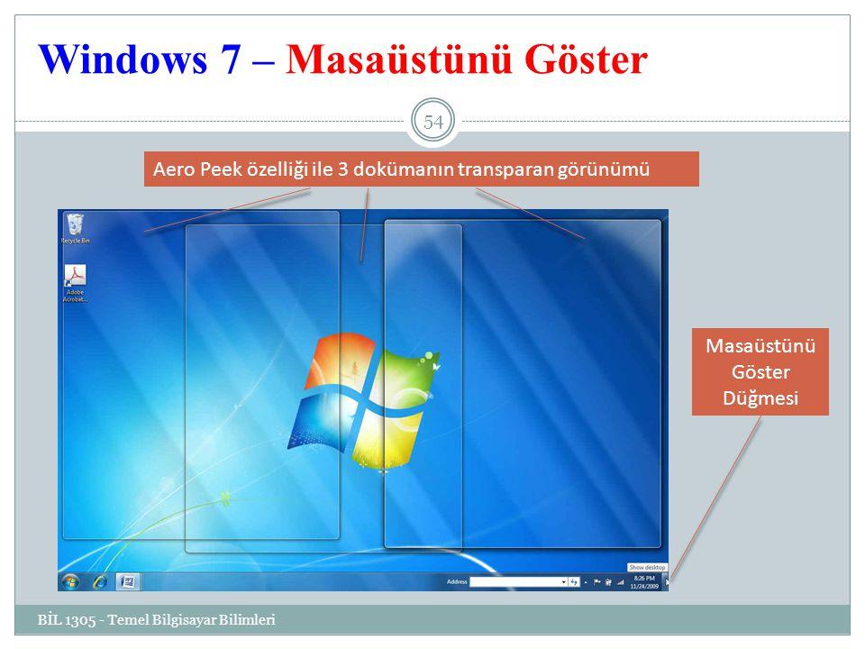 Windows 7 – Masaüstünü Göster
