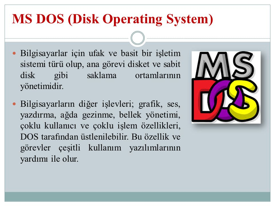 MS DOS (Disk Operating System)
