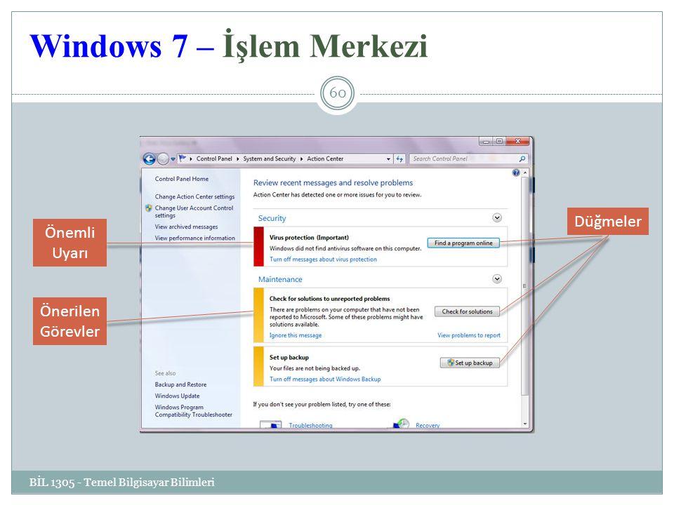 Windows 7 – İşlem Merkezi