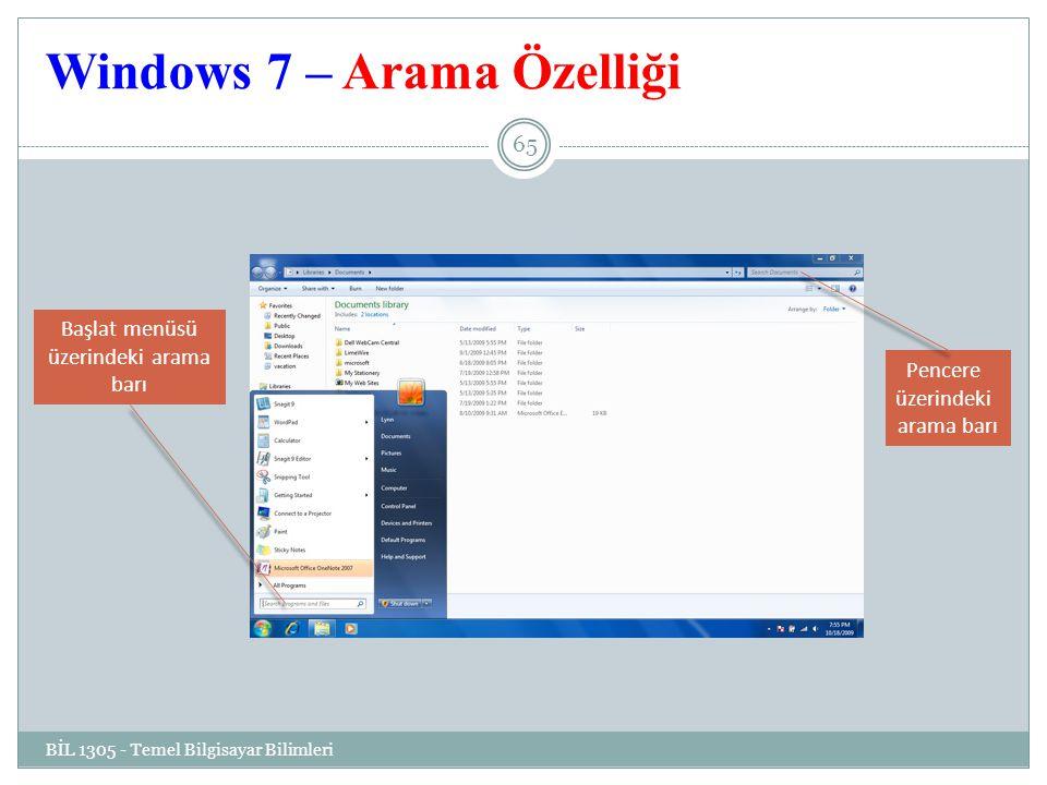 Windows 7 – Arama Özelliği