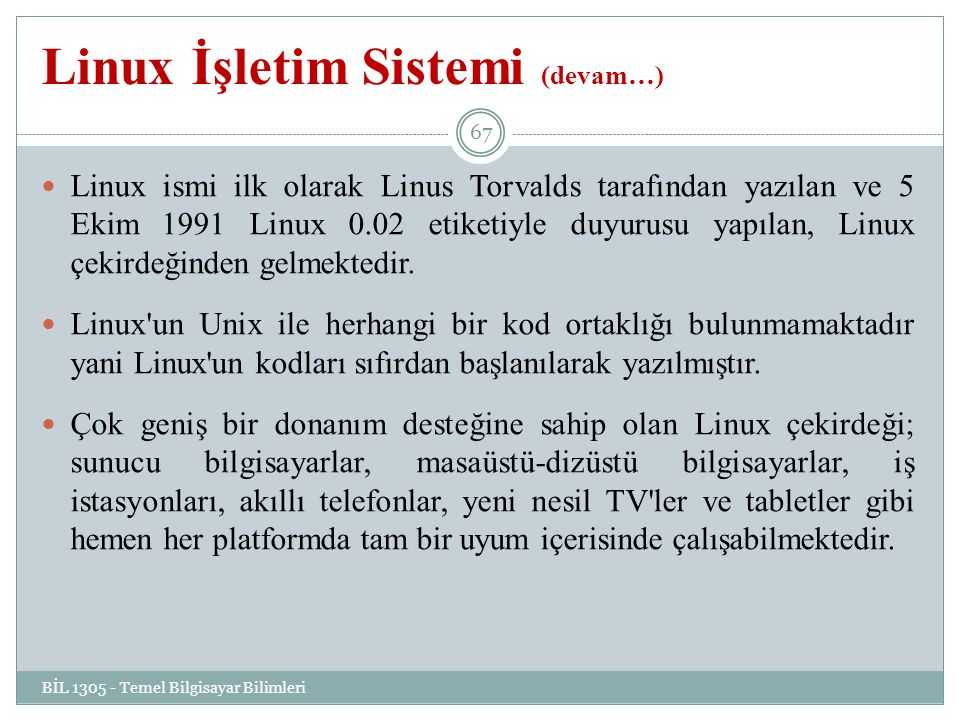 Linux İşletim Sistemi (devam…)