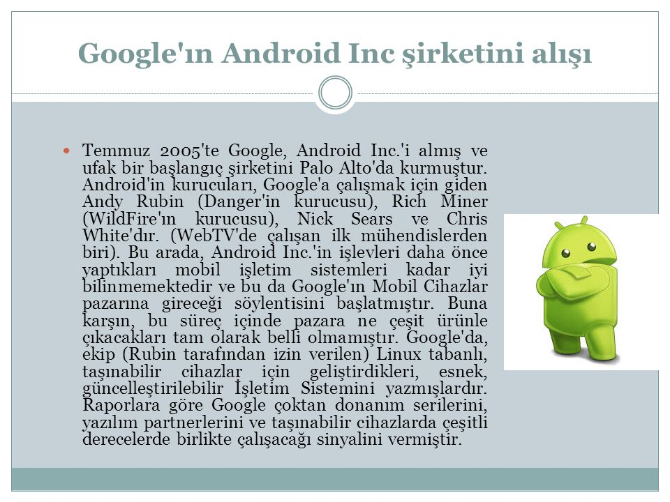 Google ın Android Inc şirketini alışı