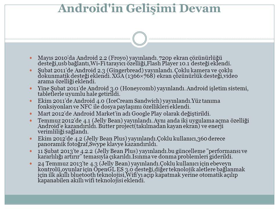 Android in Gelişimi Devam