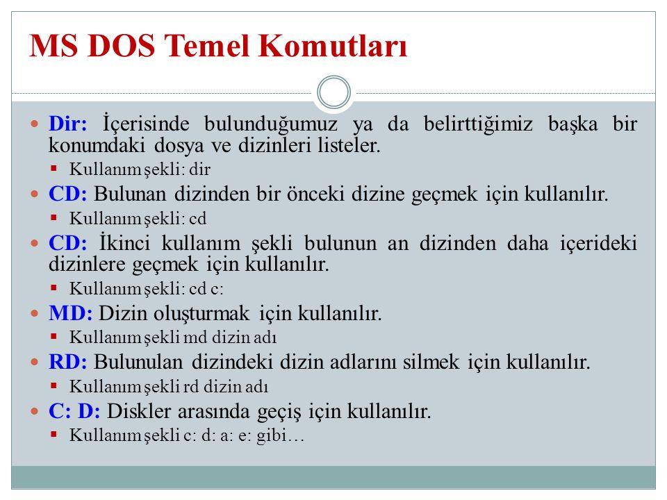MS DOS Temel Komutları Dir: İçerisinde bulunduğumuz ya da belirttiğimiz başka bir konumdaki dosya ve dizinleri listeler.