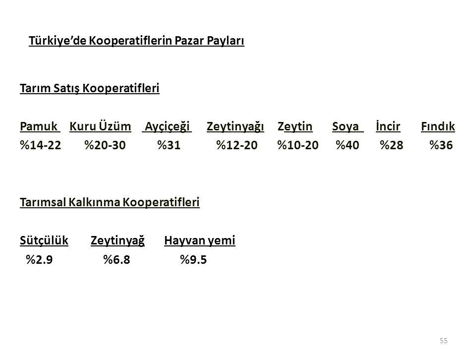 Türkiye'de Kooperatiflerin Pazar Payları