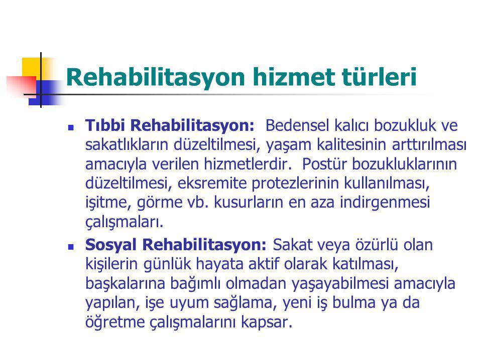 Rehabilitasyon hizmet türleri