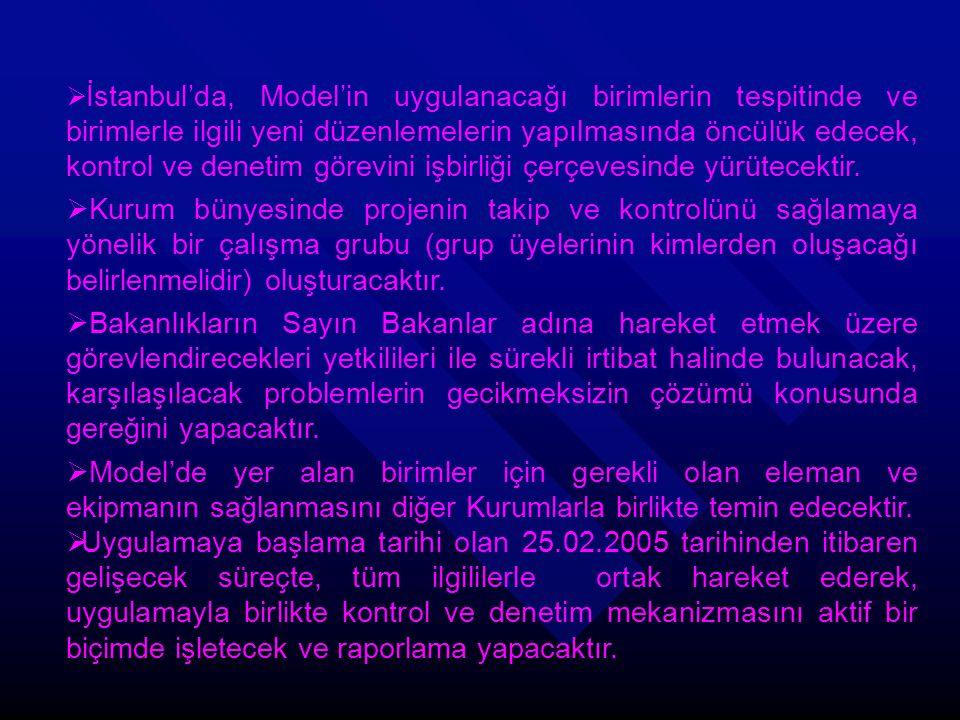 İstanbul'da, Model'in uygulanacağı birimlerin tespitinde ve birimlerle ilgili yeni düzenlemelerin yapılmasında öncülük edecek, kontrol ve denetim görevini işbirliği çerçevesinde yürütecektir.