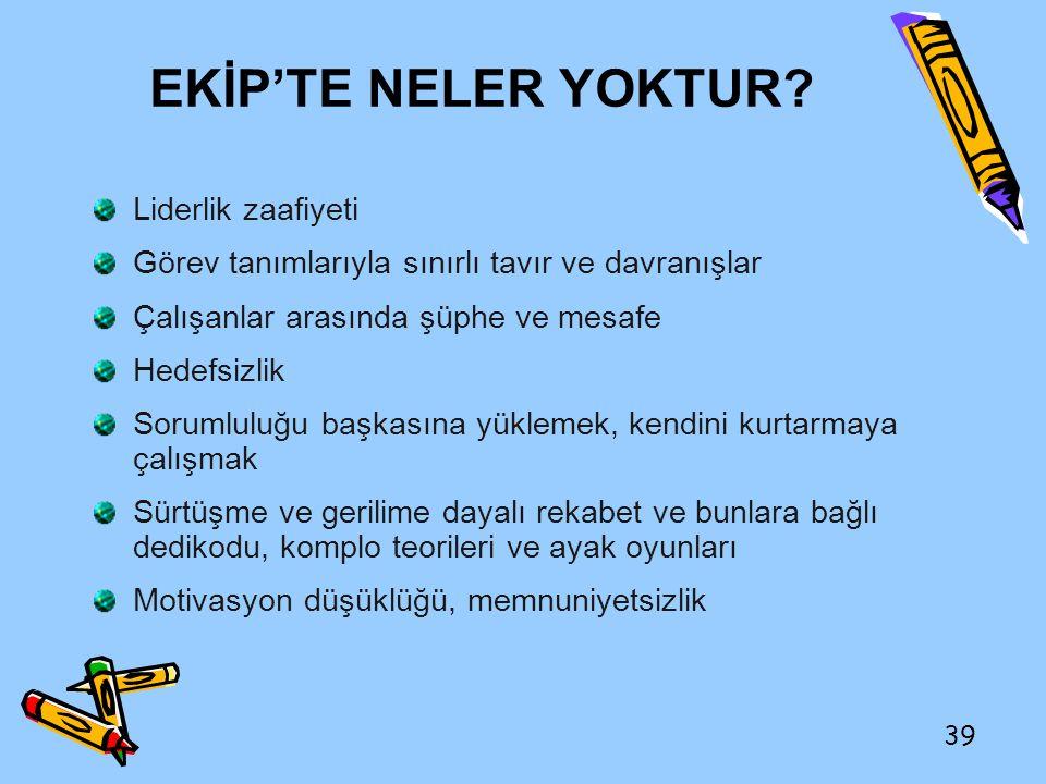 EKİP'TE NELER YOKTUR Liderlik zaafiyeti