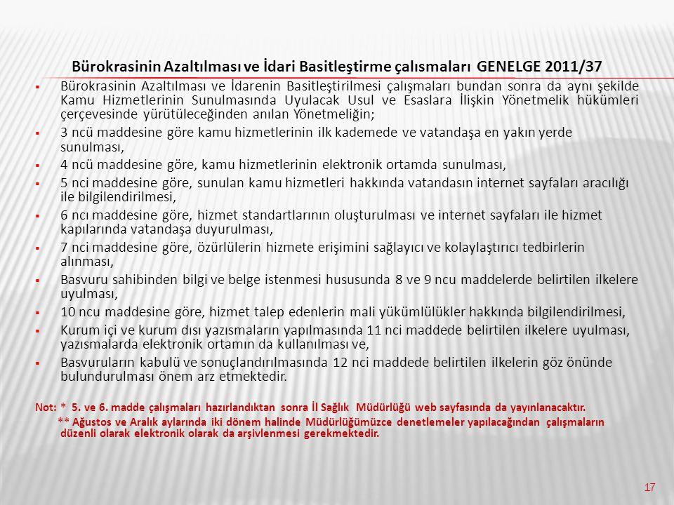 Bürokrasinin Azaltılması ve İdari Basitleştirme çalısmaları GENELGE 2011/37