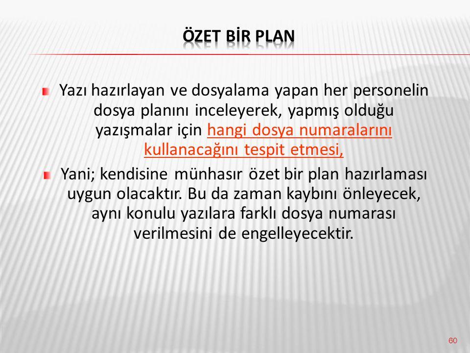 Özet Bİr Plan