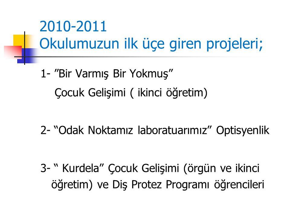 2010-2011 Okulumuzun ilk üçe giren projeleri;