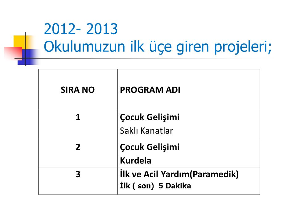 Okulumuzun ilk üçe giren projeleri;