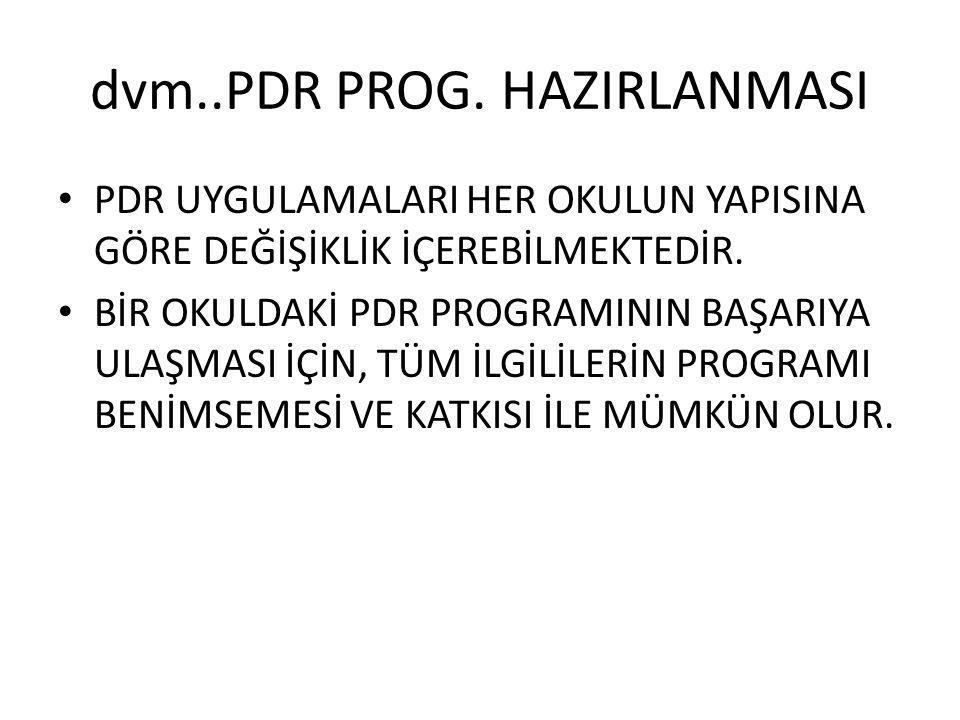 dvm..PDR PROG. HAZIRLANMASI