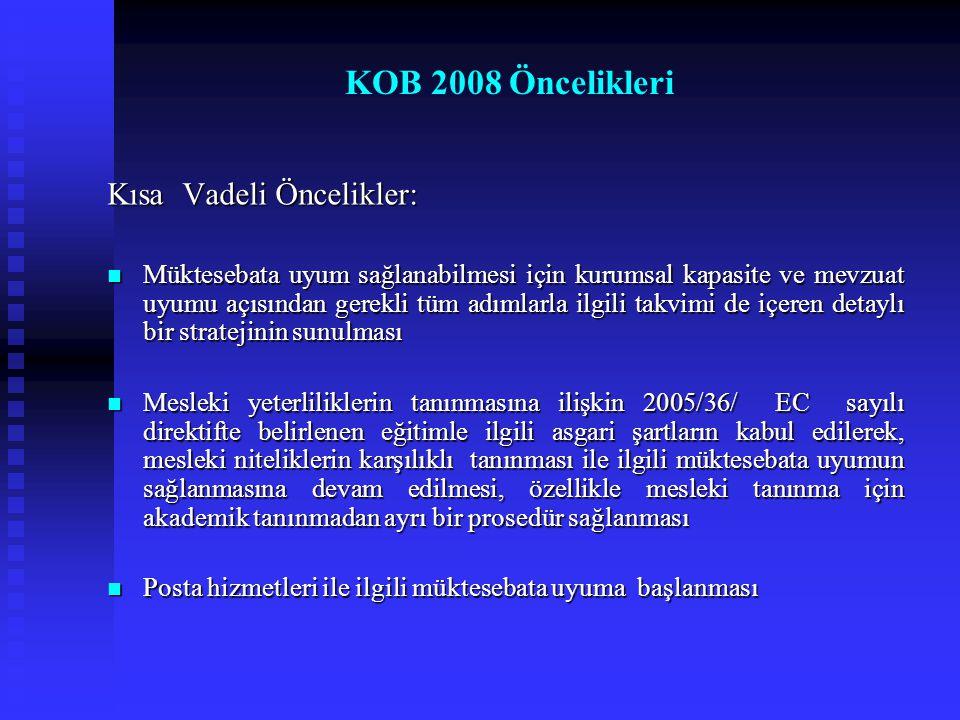 KOB 2008 Öncelikleri Kısa Vadeli Öncelikler:
