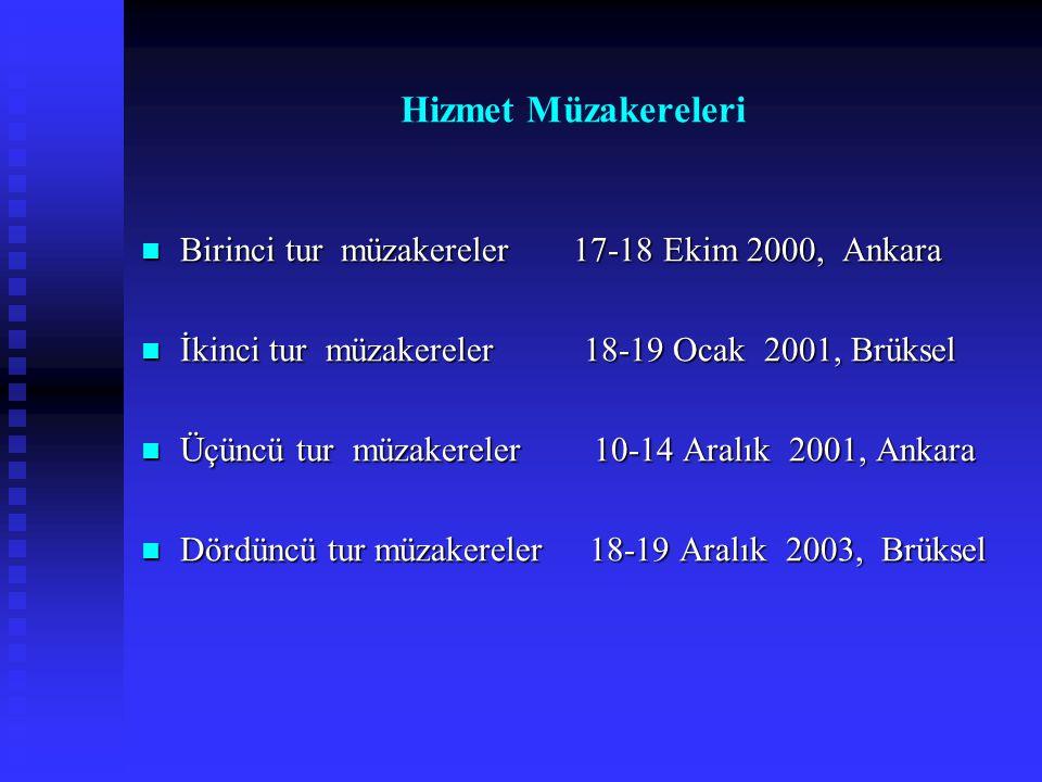 Hizmet Müzakereleri Birinci tur müzakereler 17-18 Ekim 2000, Ankara