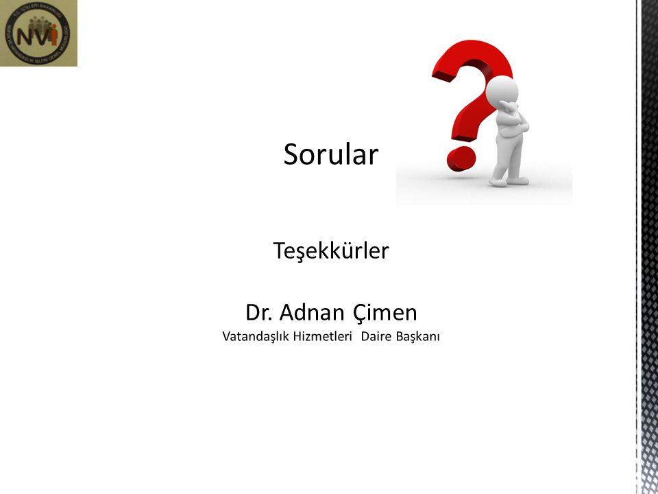 Sorular Teşekkürler Dr