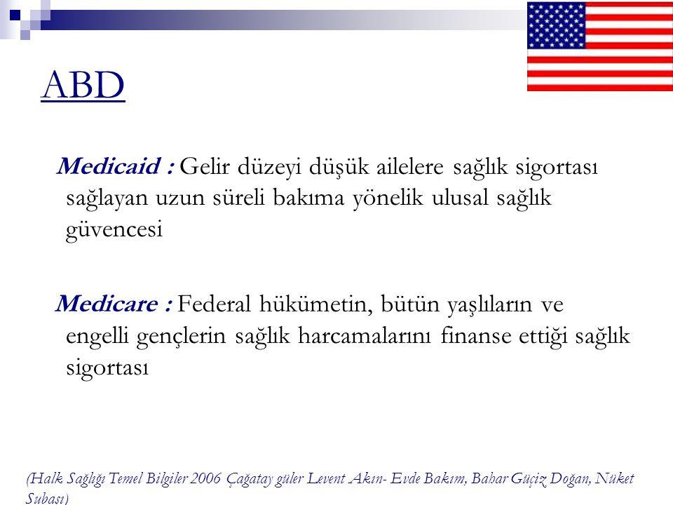 ABD Medicaid : Gelir düzeyi düşük ailelere sağlık sigortası sağlayan uzun süreli bakıma yönelik ulusal sağlık güvencesi.