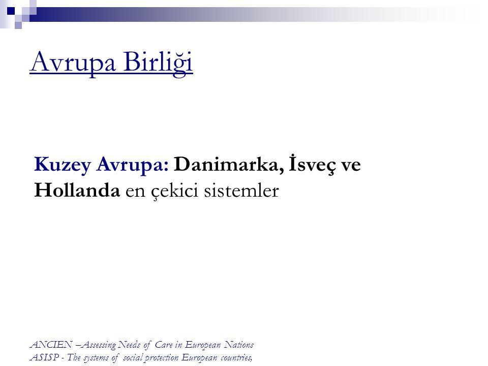 Avrupa Birliği Kuzey Avrupa: Danimarka, İsveç ve Hollanda en çekici sistemler. ANCIEN –Assessing Needs of Care in European Nations.