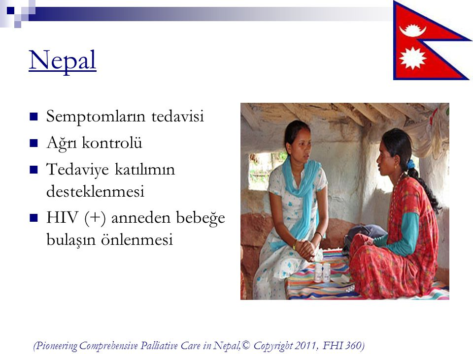 Nepal Semptomların tedavisi Ağrı kontrolü