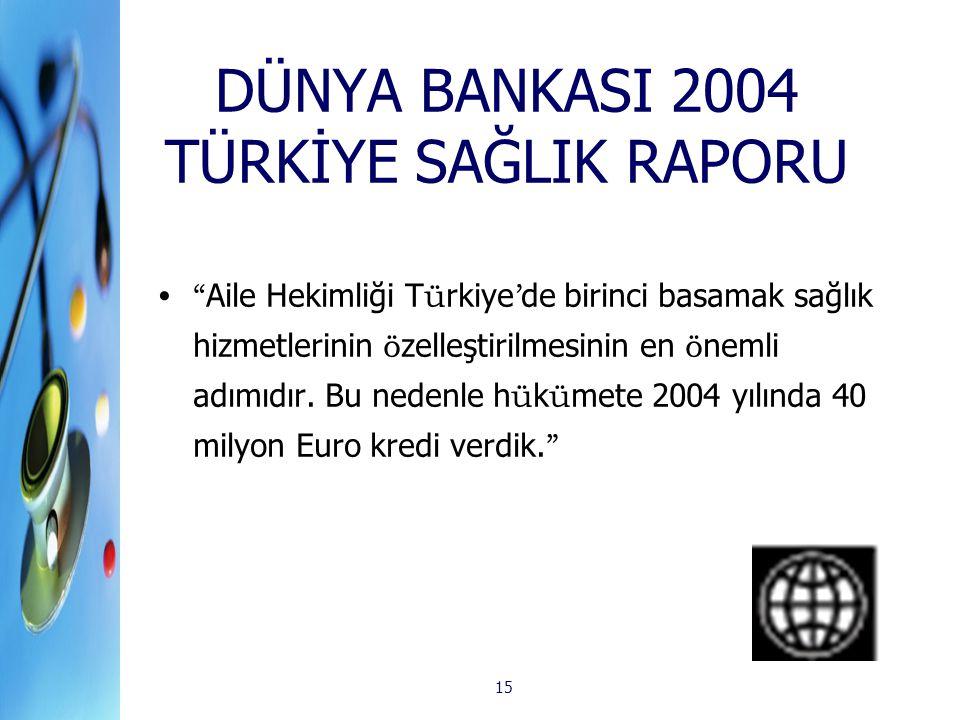 DÜNYA BANKASI 2004 TÜRKİYE SAĞLIK RAPORU