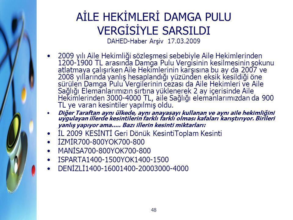 AİLE HEKİMLERİ DAMGA PULU VERGİSİYLE SARSILDI DAHED-Haber Arşiv 17. 03