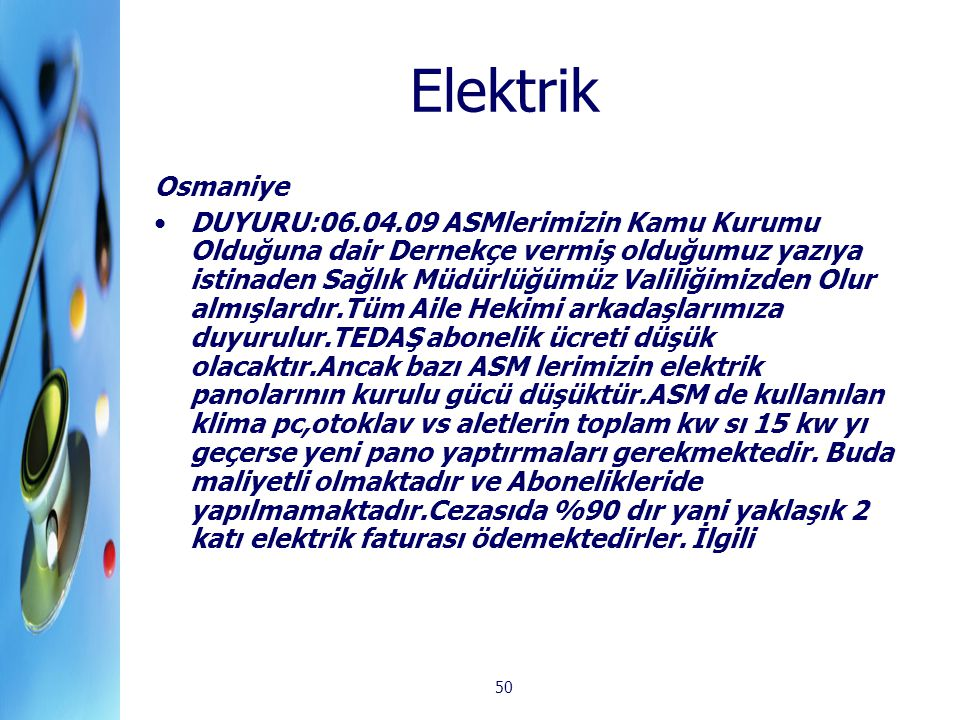 Elektrik Osmaniye.