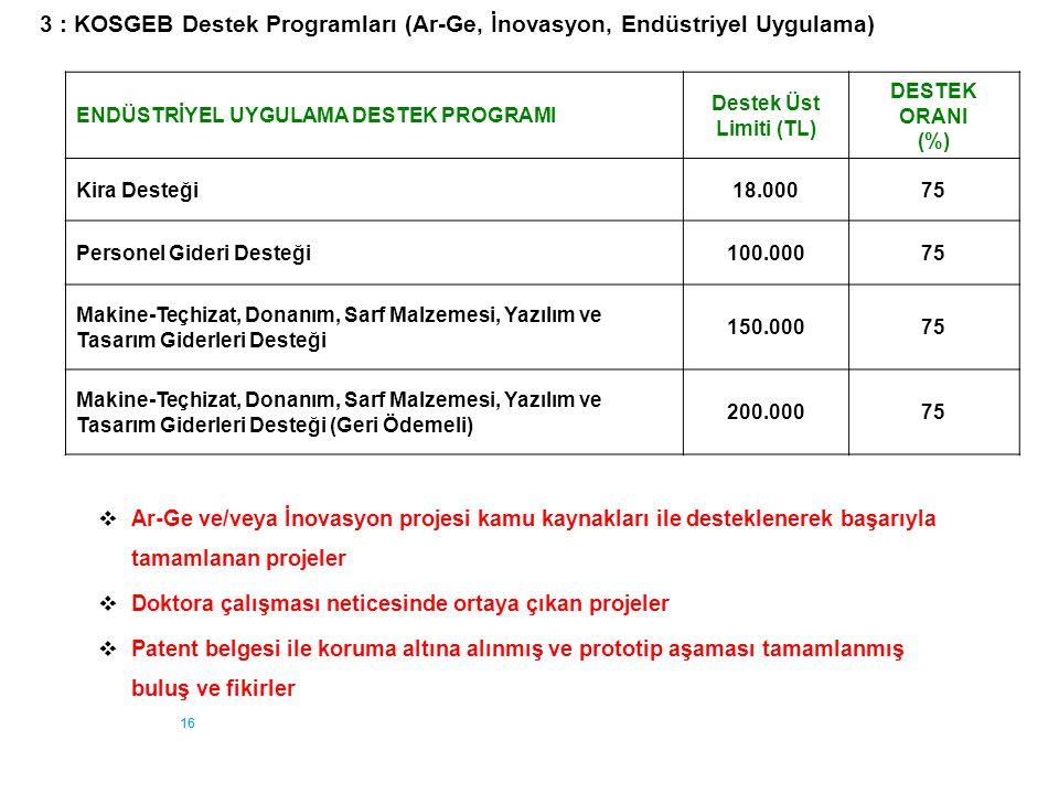 3 : KOSGEB Destek Programları (Ar-Ge, İnovasyon, Endüstriyel Uygulama)