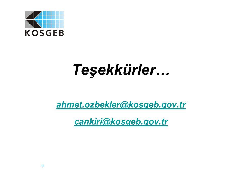 Teşekkürler… ahmet.ozbekler@kosgeb.gov.tr cankiri@kosgeb.gov.tr