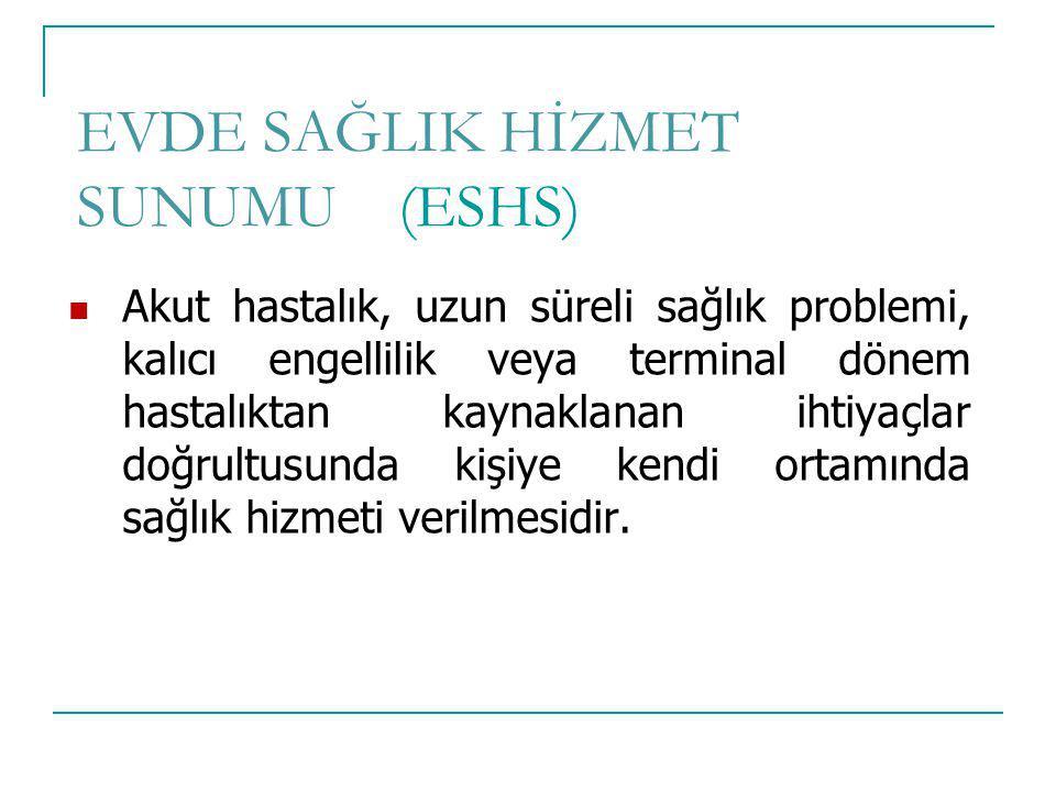 EVDE SAĞLIK HİZMET SUNUMU (ESHS)