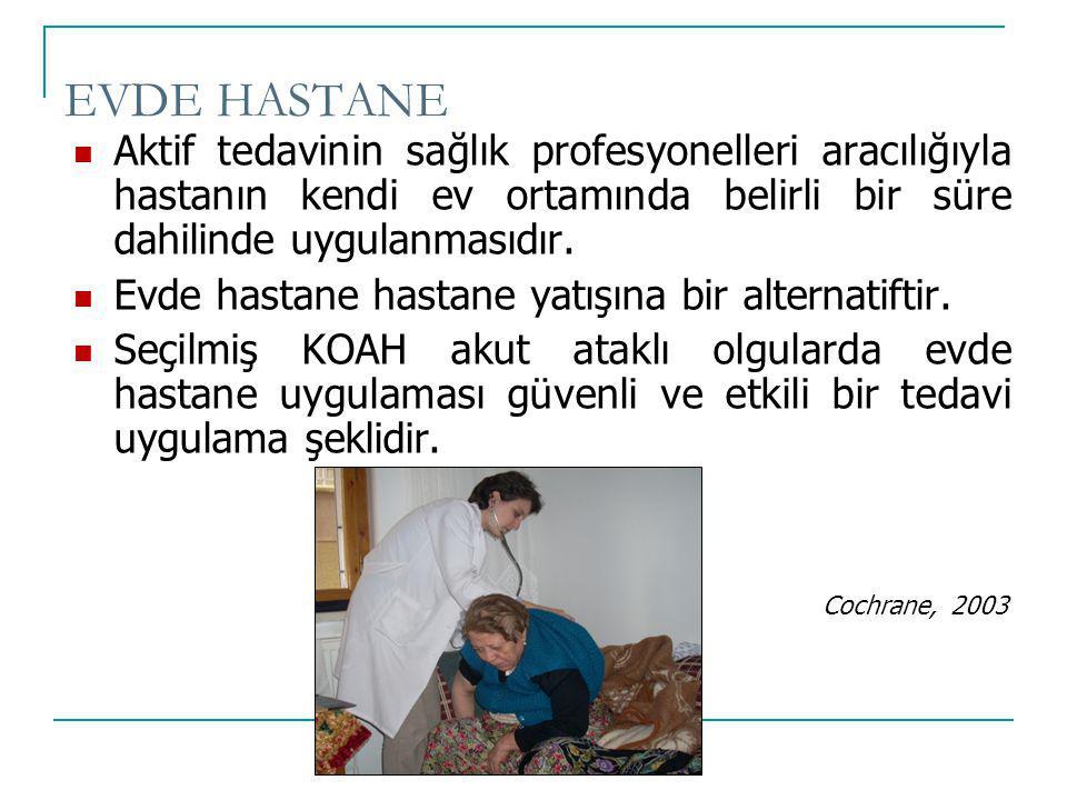 EVDE HASTANE Aktif tedavinin sağlık profesyonelleri aracılığıyla hastanın kendi ev ortamında belirli bir süre dahilinde uygulanmasıdır.