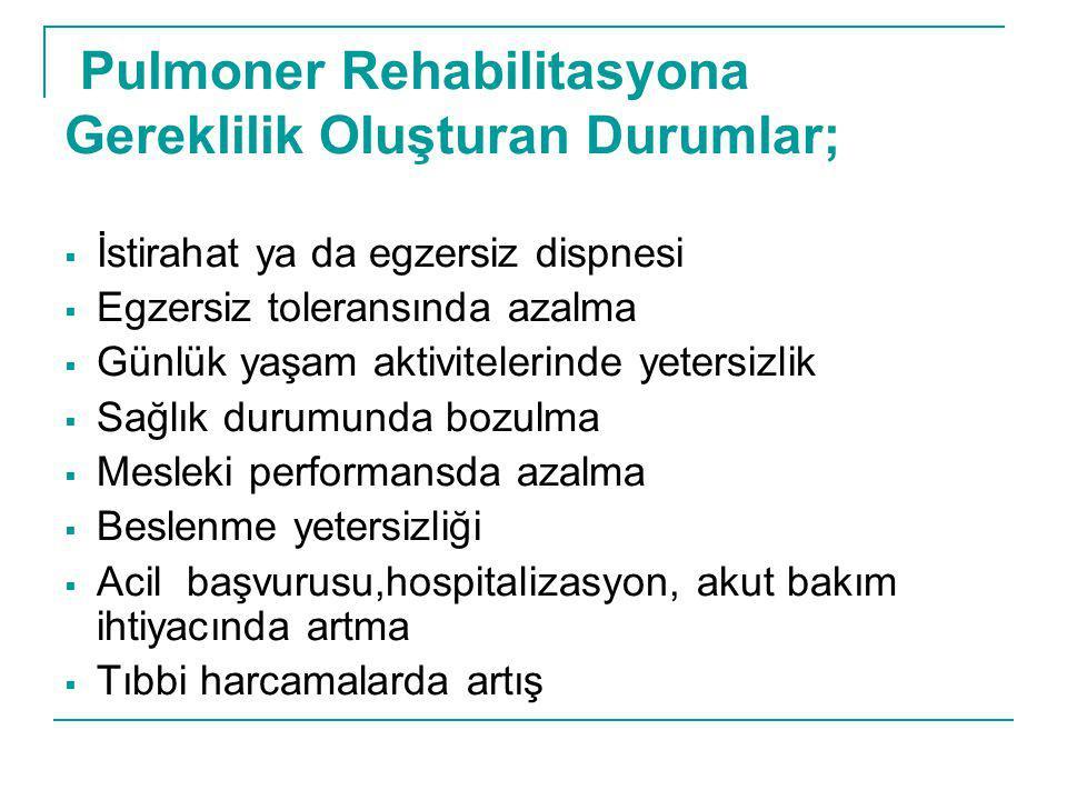 Pulmoner Rehabilitasyona Gereklilik Oluşturan Durumlar;